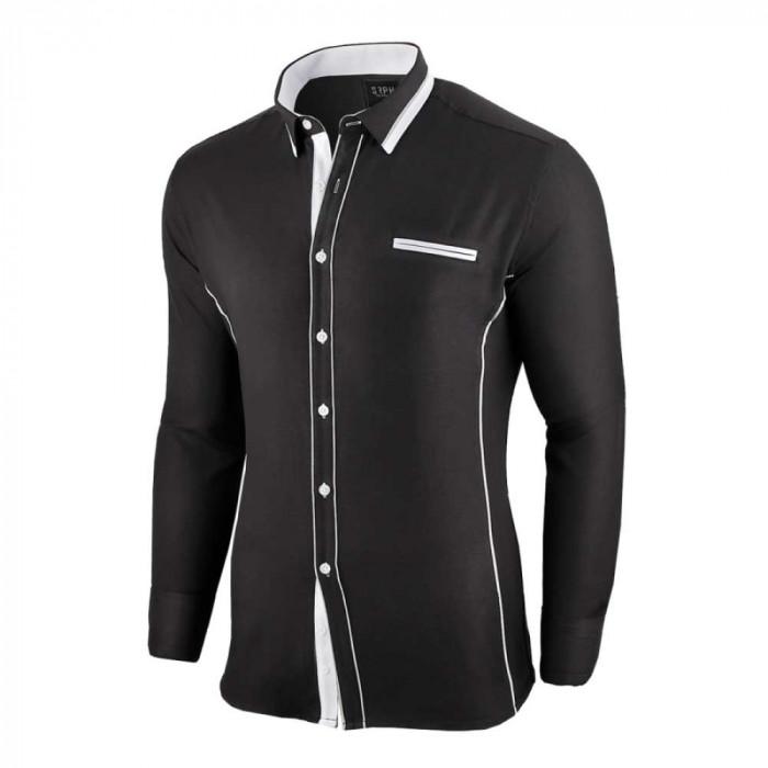 Camasa pentru barbati, neagra, slim fit - Allee de Longchamp