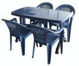 Set masa 70x120cm si 4 scaune KARNAVAL din masa plastica culoare albastra Raki