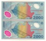 ROMANIA  2000 2.000 LEI 1999 UNC  ECLIPSA , CONSECUTIVE  PRET / 2BUC necirculata