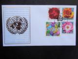 FDC timbre flora flori trandafiri plante ONU New York stampilate, Nestampilat