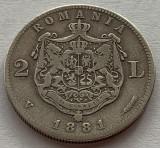 2 Lei 1881 Argint, Romania, V/VF