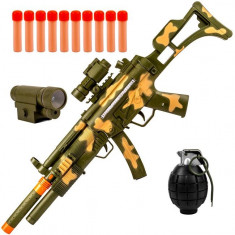 Arma interactiva de jucarie pentru copii, model mitraliera cu grenada si binoclu, 102 cm