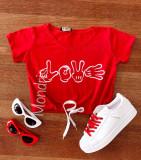 Tricou dama ieftin din bumbac rosu cu imprimeu Mikey Love