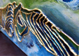 Tablou abstract cu nervuri reliefate, Peisaj de vara, Tablou original semnat, Ulei, Realism
