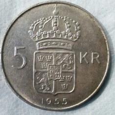 5 KOROANE SUEDIA DE ARGINT, 1955, PIESA FRUMOASA !!