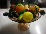 Fructiera din epoca comunista. Fructiera sticla + fructe plastic. Decor