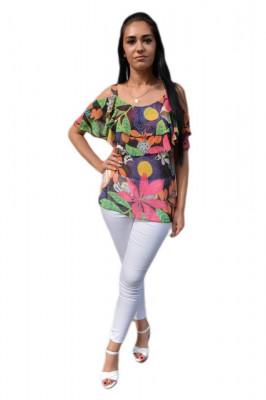 Bluza eleganta, nuanta multicolora cu decupaje pe umeri foto
