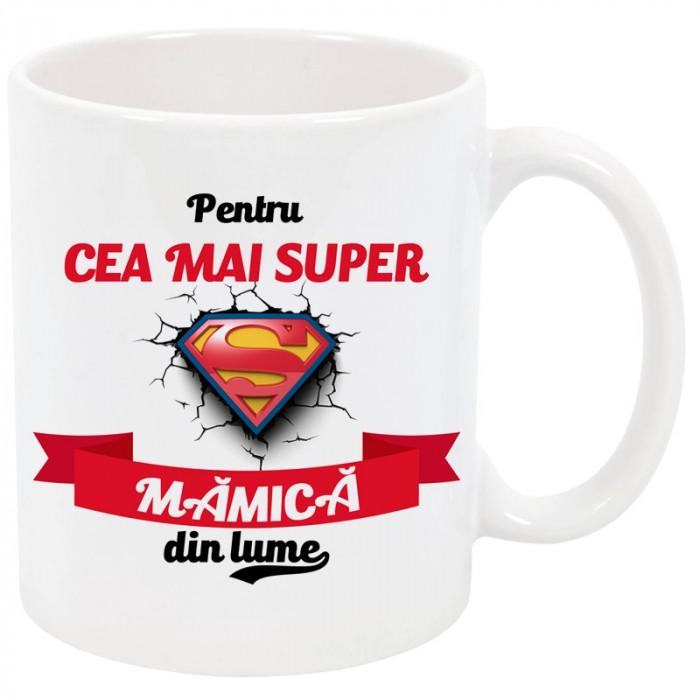 """Cana personalizata """"Cea mai super mamica din lume"""", ceramica alba, 325 ml"""