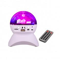 Boxa bluetooth tip glob disco rotativ cu suport si telecomanda, USB, MP3, micro SD