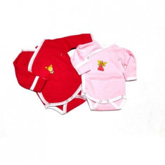 Set 2 body-uri fetita cu maneca lunga,culoare Rosu/Roz