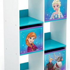 Organizator cu cadru din lemn pentru carti si jucarii Frozen Cube, Multicolor