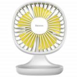 Ventilator de birou Baseus Pudding Shaped CXBD-02, incarcare USB, 5 V, 1 A (Alb/Galben)