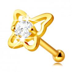 Piercing nas din aur de 14K - contur de fluture cu un zirconiu rotund limpede, 2 mm
