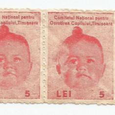 România, lot 37 timbre fiscale, Ocrotirea copilului, timbru local Timișoara, MNH