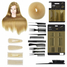 Set cap practica manechin Jessy Blond agrafe cu perle coc salon frizerie coafor