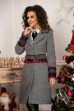 Palton elegant din lana gri cu aplicatii