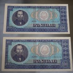 Doua Bancnote Serii Consecutive 100 lei 1966 - una suta lei - A0210