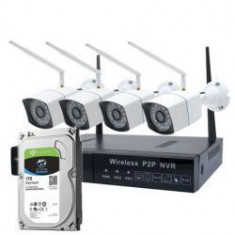 Kit supraveghere video PNI House WiFi550 NVR si 4 camere wireless 1.0 MP, IR 30 m, HDD 1TB