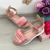 Cumpara ieftin Sandale roz metalic cu puf , perle si urechi pt fetite marimea 31