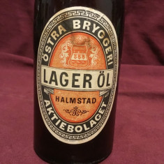 Vintage / Design - Sticla veche de bere cu eticheta si dop ceramic / Lager ol !