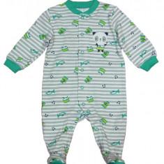 Salopeta / Pijama bebe cu dungi si ursulet Z81