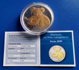 AUSTRALIA 1 Dollar 2009 Koala 31.1 gr. uncie argint 999 placat aur + certificat, Australia si Oceania