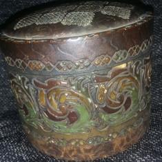 Caseta bijuterii veche,caseta lemn sculptata veche pentru bijuterii,colectie,T.G