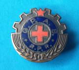 Insigna veche de colectie 1950 GPAS - Gata pt Aparare Sanitara - Cruce Rosie RPR