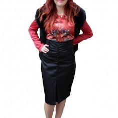 Fusta eleganta cu talie inalta, din material negru cu aspect lucios