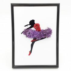 Cumpara ieftin Tablou cu licheni naturali stabilizati Nordic Zen, Purple ballerina, 13x18 cm