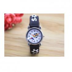 Ceas pentru copii, model minge - fotbal, culoare negru