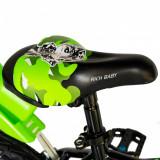Bicicleta baieti Rich Baby R14WTA 14 inch cu roti ajutatoare si led 3-5 ani negruverde