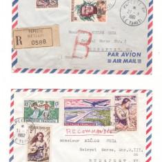 1961,62 - Doua plicuri circulate rec. Polinezia Franceza-Ungaria