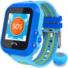 Ceas GPS Copii, iUni Kid27, Touchscreen 1.22 inch, BT, Telefon incorporat, Buton SOS, Albastru + Boxa Cadou