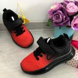 Adidasi negri rosii textili usori pt baieti / fete 27 28