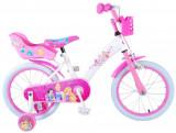 """Bicicleta pentru fete ajustabila din otel cu roti ajutatoare 16"""" EandL CYCLES Disney Princess Alb - Roz"""