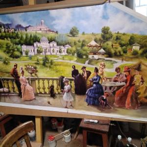 Theodor Aman Pe terasa la Sinaia - Reproducere, tablou pictat in ulei pe panza