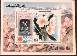 Cumpara ieftin RAS AL KHAIMA 1972 sport, Olimpiada Sapporo 72, hokey,  flori, COLITA MNH, Nestampilat