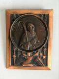 * Placa tablou de cupru cu Sf. Benedict (S.P. Benedictus) Montecassino, 11x8.5cm