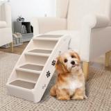 Scară pentru câini pliabilă, crem, 62 x 40 x 49,5 cm, vidaXL