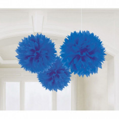 Decoratiuni albastre pom pom Fluffy 40.6 cm set 3 buc