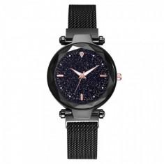 Ceas dama GENEVA CS1105, model Starry Sky, bratara magnetica, elegant, negru