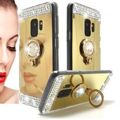 Husa silicon oglinda , pietricele si inel  Samsung Galaxy S9 Auriu