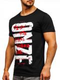 Tricou cu imprimeu bărbați negru Bolf KS1946