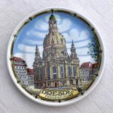 Impresionanta farfurioara din portelan german cu biserica din DRESDEN, Decorative