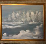 Tablou cu peisaj de iarna- semnat Nicolae Blei, Peisaje, Ulei, Altul