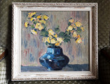 Tablou vas cu flori – ulei pe pânză, şcoală românească - deosebit, Impresionism