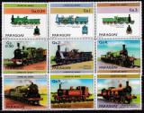 DB1  Paraguay Locomotive cu Aburi englezesti serie  completa + 2 vignete   MNH