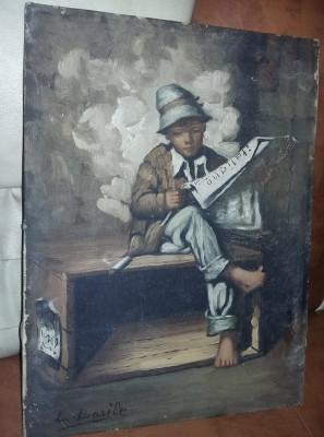 Tablou vechi pictat pe panza fara rama,pictura semnata Superba,T.GRATUIT foto