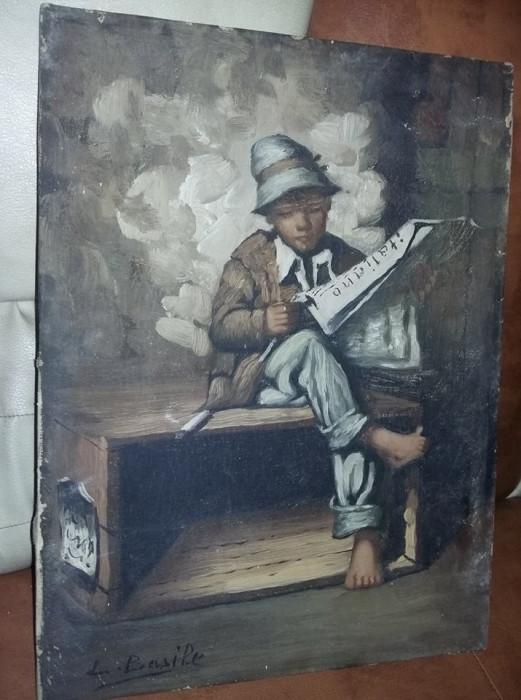 Tablou vechi pictat pe panza fara rama,pictura semnata Superba,T.GRATUIT